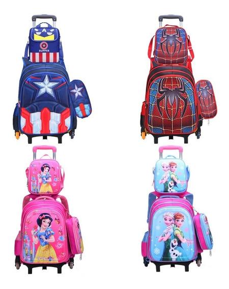 Bolsa Mochila Escolar Infantil Capitão América Ultimato Kit