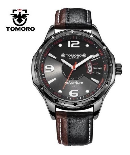 Relógio Preto Pulso Mascul. Tomoro Luxo Calendário Promoção