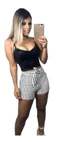 Conjunto Cropped Cirrê E Feminino Shorts Suplex