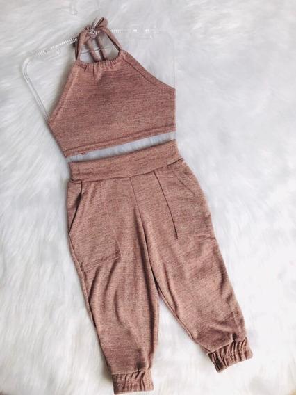 Conjunto Mini Diva Cropped Calça Jogger Lurex Brilho Moda