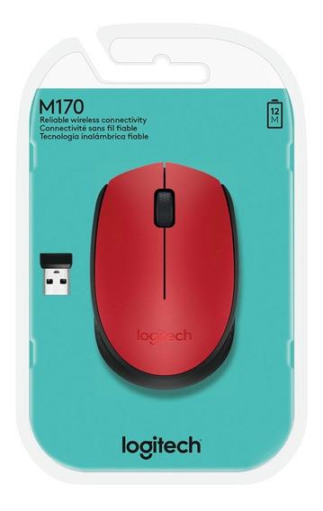 Mouse Sem Fio Logitech Wireless M170 Vermelho