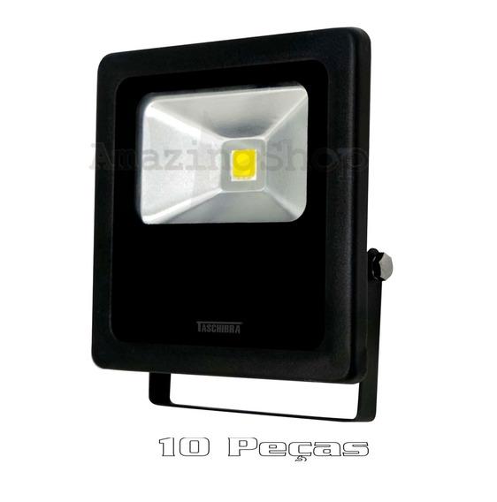 10 Refletores Led Ip65 Tr20 Bivolt 20w 3000k Preto Taschibra
