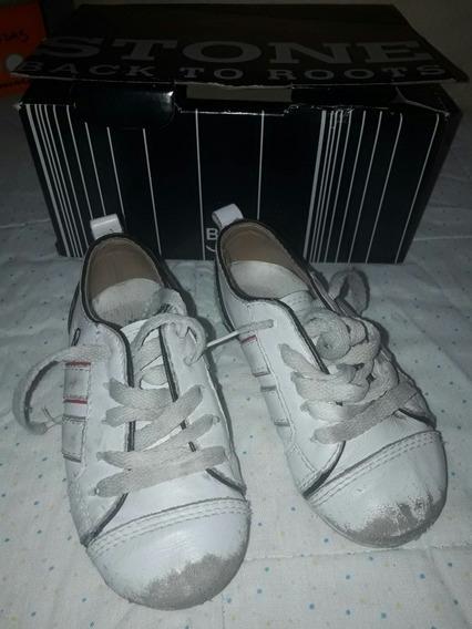 Zapatilla / Calzado Con Cordones Nº 23 Blaco * Stone Baby *
