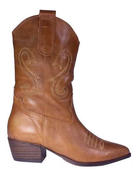 Bota Texana Cuero Vacuno 100% Moda Dama Zapato 1230fb