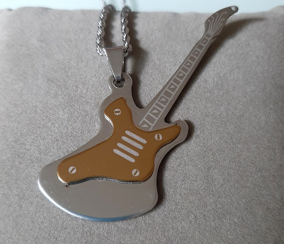 Pingente Guitarra E Corrente Aço