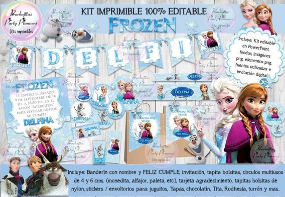 Kit Imprimible Candy Bar Frozen Modelo 1 - 100% Editable