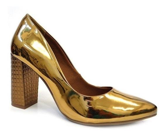 Sapato Metalizado Salto - 17-501 - Via Marte (63) - Bronze
