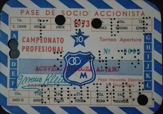 Boleta Antigua Futbol Millonarios Entrada Pase Anual 1973