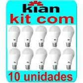 Kit 10 Lâmpadas Led Kian 9w 6000k
