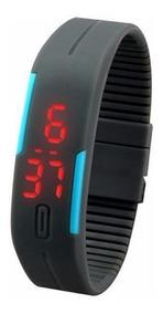 Relógio De Pulso Digital De Silicone Retangular Hora Data