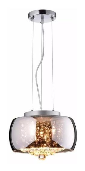 Luminária Pendente Cristal Soho Bella 28x17cm Cromado Bella