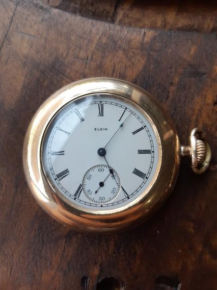 Reloj De Bolsillo Chapa De Oro Marca Elgin!