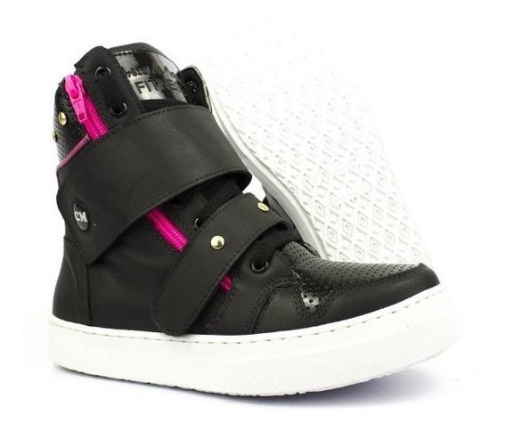 Botinha Sneaker Academia Feminina Treino Couro Black Fúcsia
