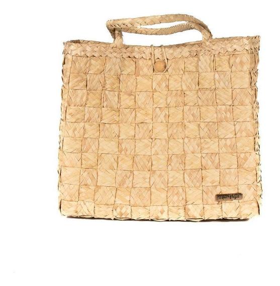 Bolsa Tote-shopper Palha Natural Feminina Forro Tecido Praia