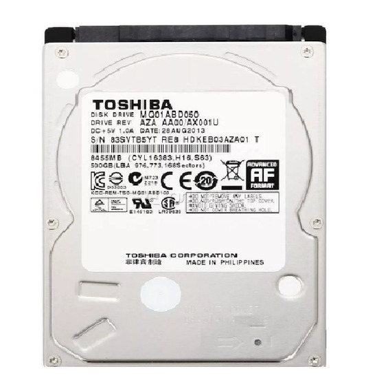 Hd 500gb Toshiba 9mm Sata Notebook, Novo!