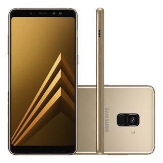 Celular Smartphone Samsung Galaxy A8 Plus 64gb 4gb Ram Dual Cam Frontal Dourado Garantia 1 Ano, Original Com Nota Fiscal