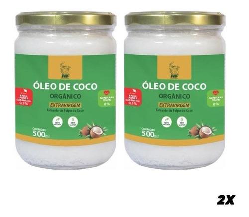 Imagem 1 de 3 de 2x Oleo De Coco 500ml Orgân. Extravirgem Hidrata Cabelo Pele