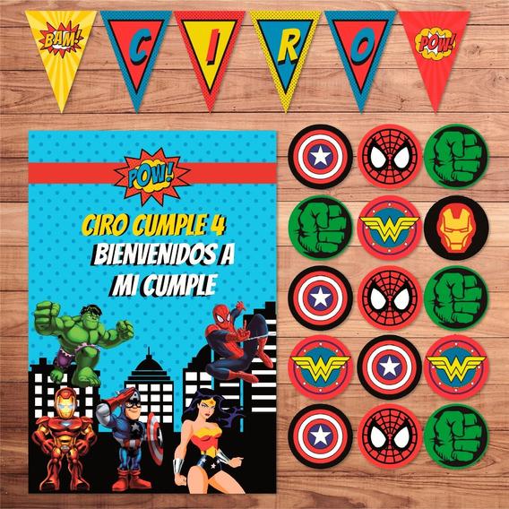 Kit Imprimible Superhéroes Mujer Maravilla Cumpleaños Candy