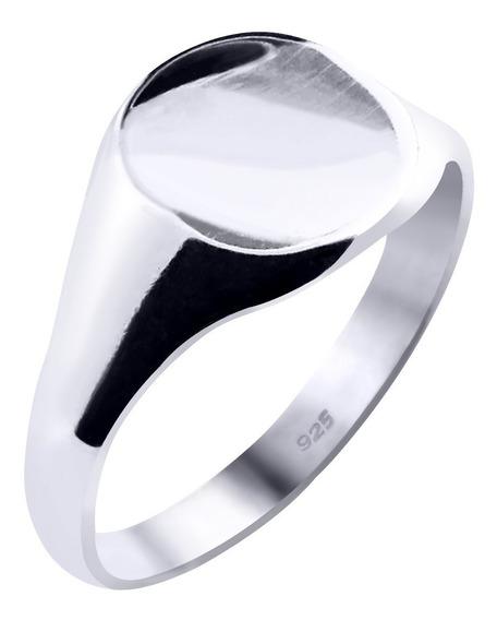 Anel De Prata 925 Sólido Masculino Arredondado - Exclusivo