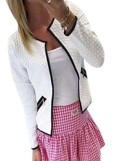 Jaqueta Casaco Blazer Blusa Inverno Jacquard Feminina Frio