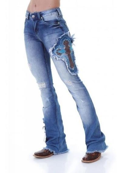 Calça Jeans Feminina Zenz Western Rodeo Tamanho 44