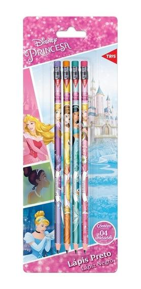 Lápis Preto C/borracha Princesas Disney 4 Unid
