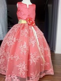 Vestido Elegante Para Fiesta Niña, Paje, 3 Años Coral
