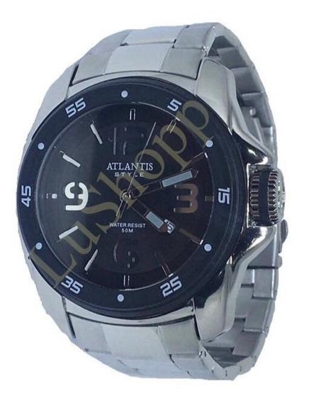 Relógio Masculino Atlantis Original Prata Luxo Social Grande