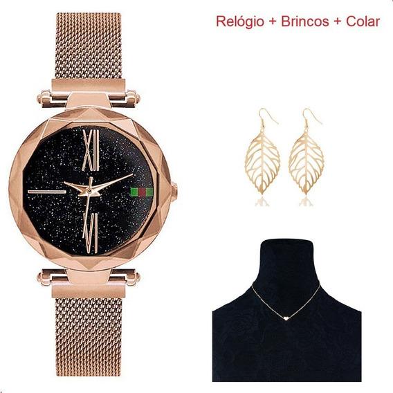 Relógio Feminino C/ Pulseira Magnética + Colar + Brincos