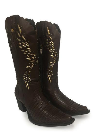 Bota Texana Feminina Country The Bulls Em Couro Pinhão