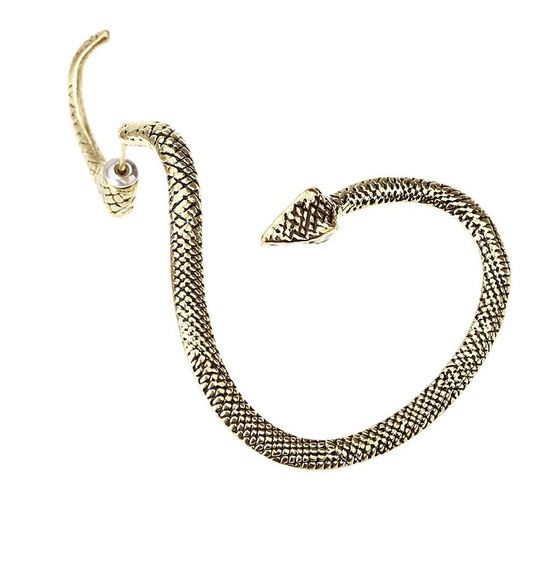 Brinco Ear Cuff Piercing Vintage Punk Gótico Cobra Serpente