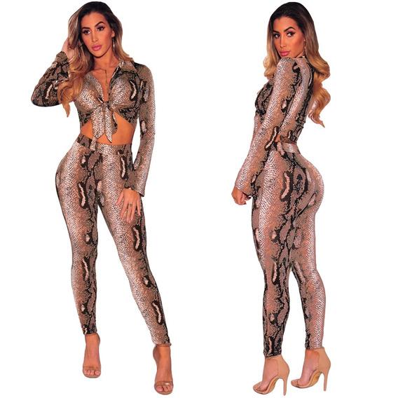 Sexy Mujeres Dos -piece Set Serpiente Impresión Cosecha Sup