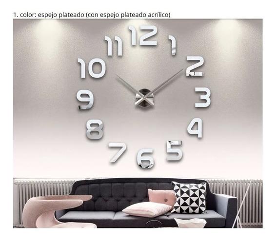Reloj De Pared Plata Gigante Envio Gratis 47