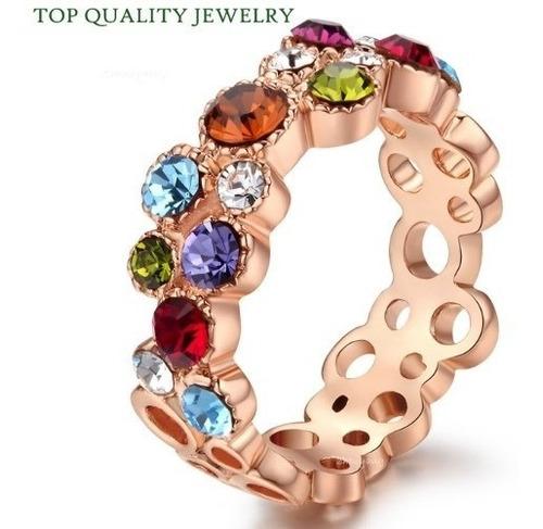 Anillo Multicolor Swarovski Crystals Tallas En Stock Elle851
