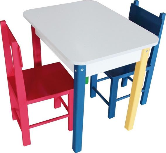 Mesa Retangular Colorida Com 2 Cadeiras De Madeira - 5023