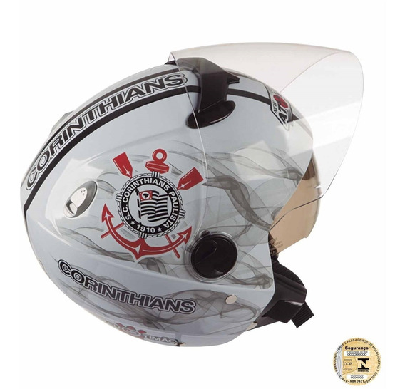 Capacete Masculino Moto Aberto Corinthians Pro Tork Branco