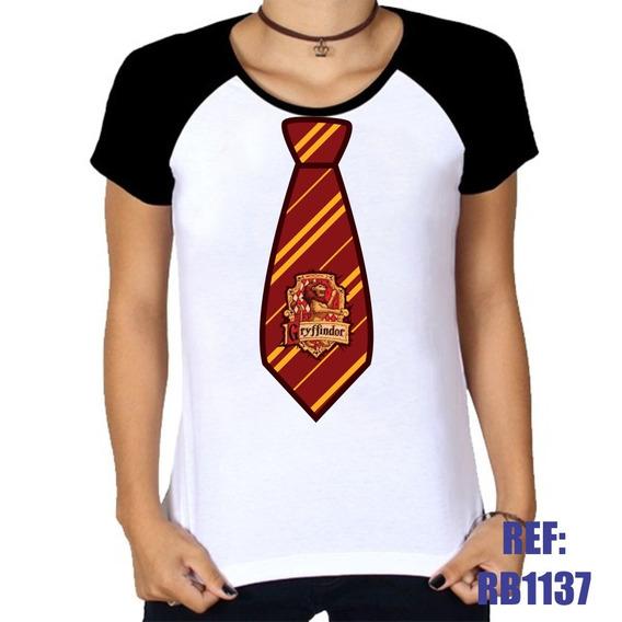 Camiseta Raglan Baby Look Harry Potter Gravata Grifinória