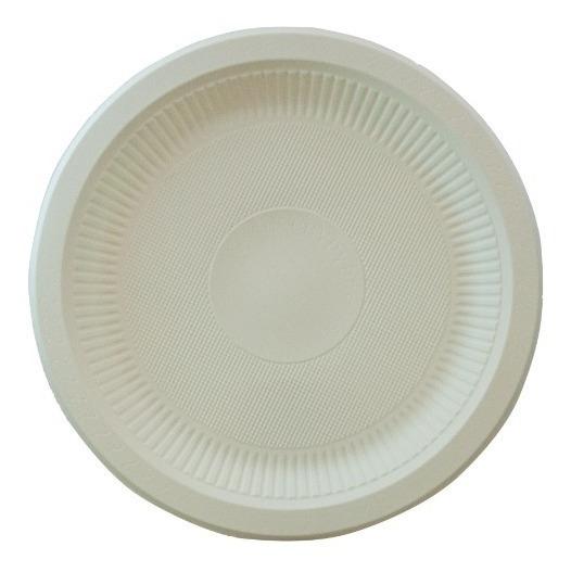 Plato Liso 25.5cm Biodegradable Fecula De Maiz, 50pz