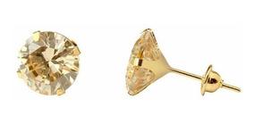 Brinco Solitário 6mm Ouro18k Luxo Frete Grátis Marcojoias
