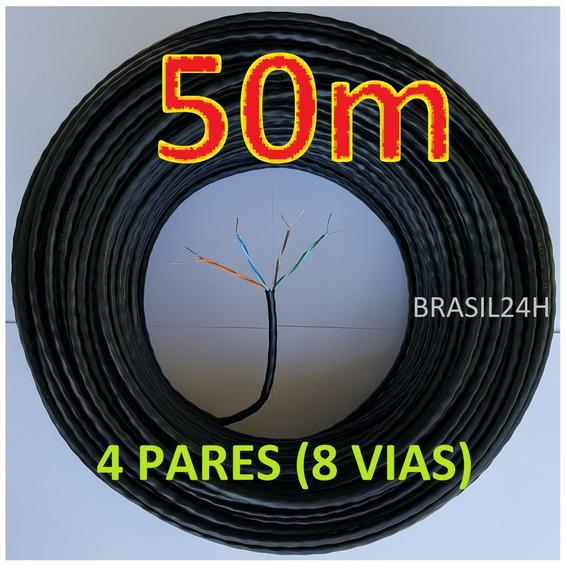 Cabo Rede Cat5e Preto Rolo 50m Utp Lan 4 Pares Net Metros