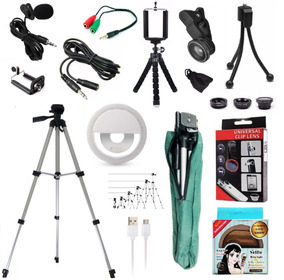 Kit Youtuber Microfone De Lapela Celular + Tripé 1,80m Flash