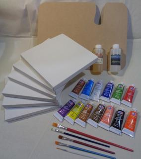 Kit Para Pintar Al Óleo Con 5 Bastidores De 20x20 Cm