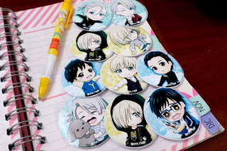 Set De 9 Stickers Circulares De Anime - Yuri On Ice