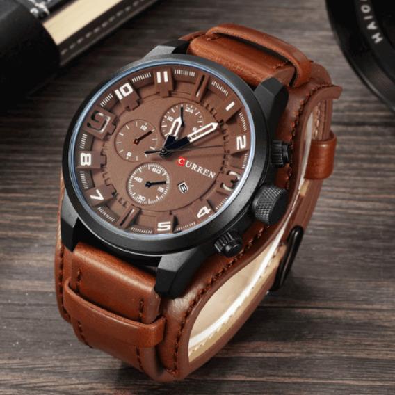 Relógio Masculino Curren Importado Original Couro Preto