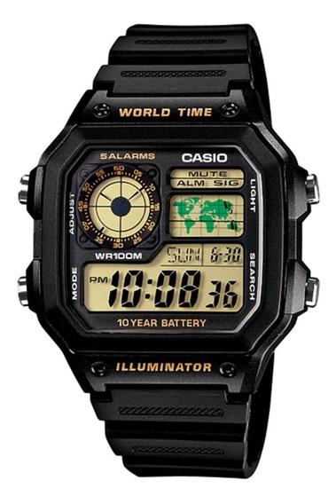 Relógio Casio Masculino Mundial 5 Alarmes Ae-1200wh-1bvdf