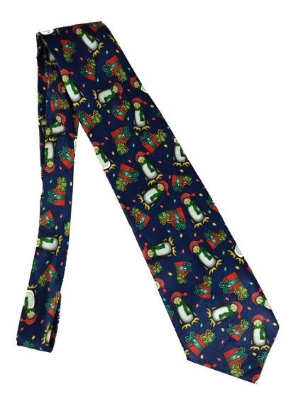 Corbata Navideña Azul Diseño De Pingüinos