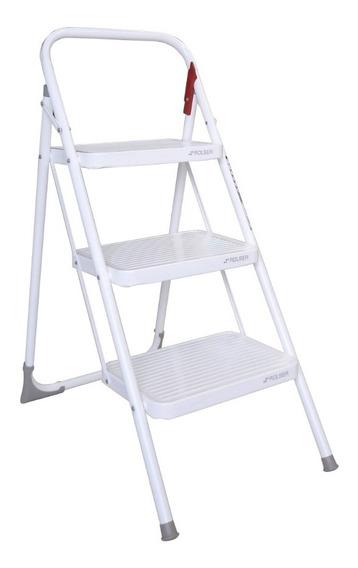 Escalera 3 Peldaños Acero Blanco Rolser