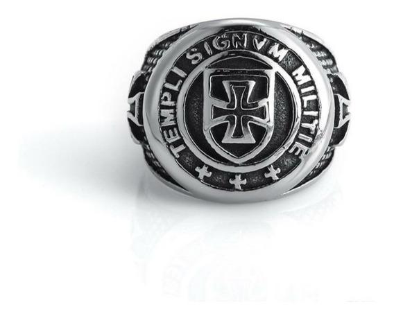 Anel Aço Inox Cavaleiro Templário Maçon Ordem Cruz Malta Mc