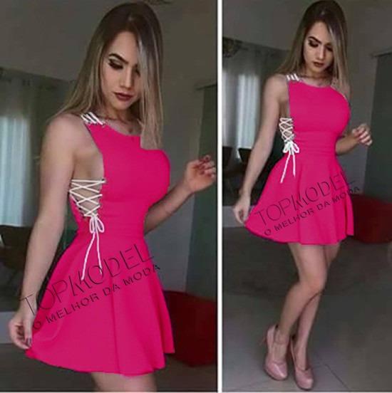 Vestido Feminino Com Cordão E Ilhós Rodado Curto Panicat
