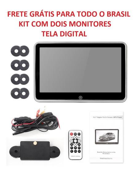 Kit 2 Peças Monitor Dvd Encosto Banco Traseiro 10.1 Tela Lcd